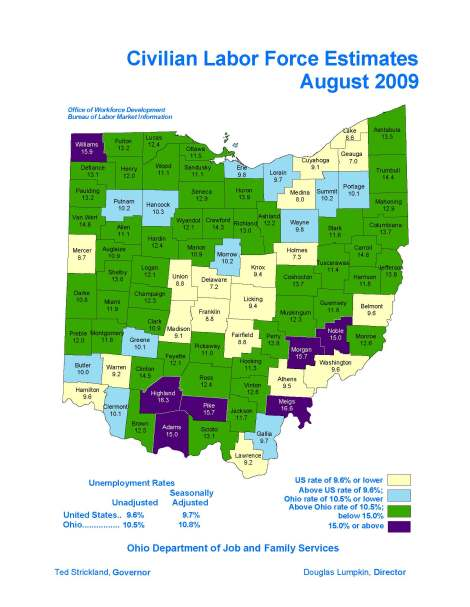 unemployment Map by county Aug 09